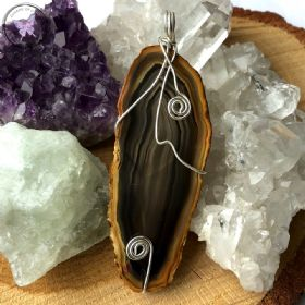 Agate Slice Silver Wire Wrapped Pendant 07